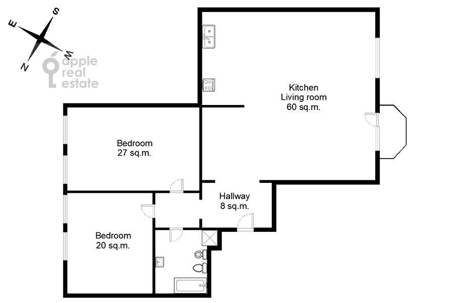 Поэтажный план 3-комнатной квартиры по адресу Лаврушинский пер. 11к1