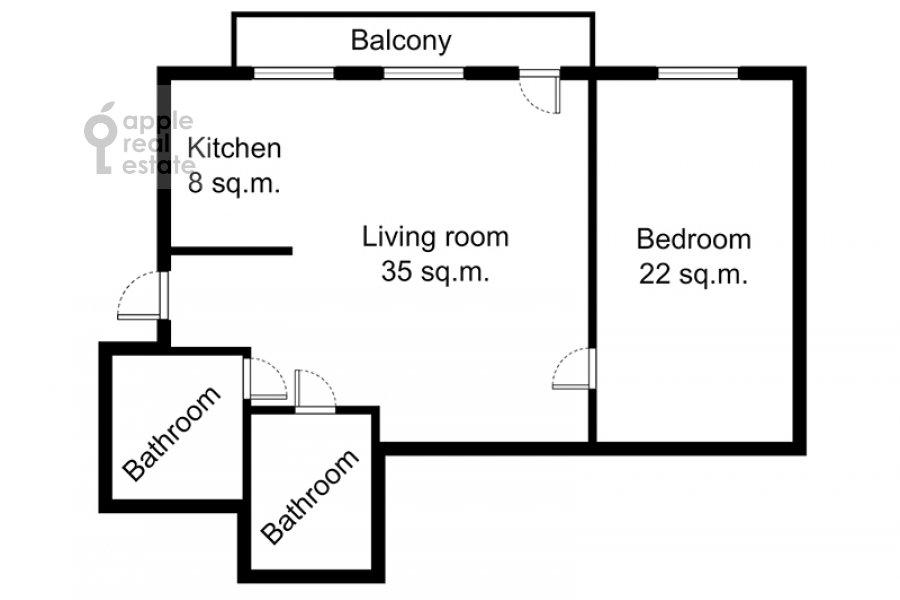 Floor plan of the 2-room apartment at Ordynka Malaya ul. 13s1a