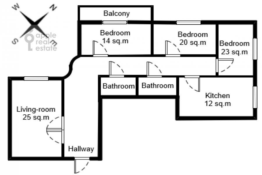 Поэтажный план 4-комнатной квартиры по адресу Кастанаевская ул. 24