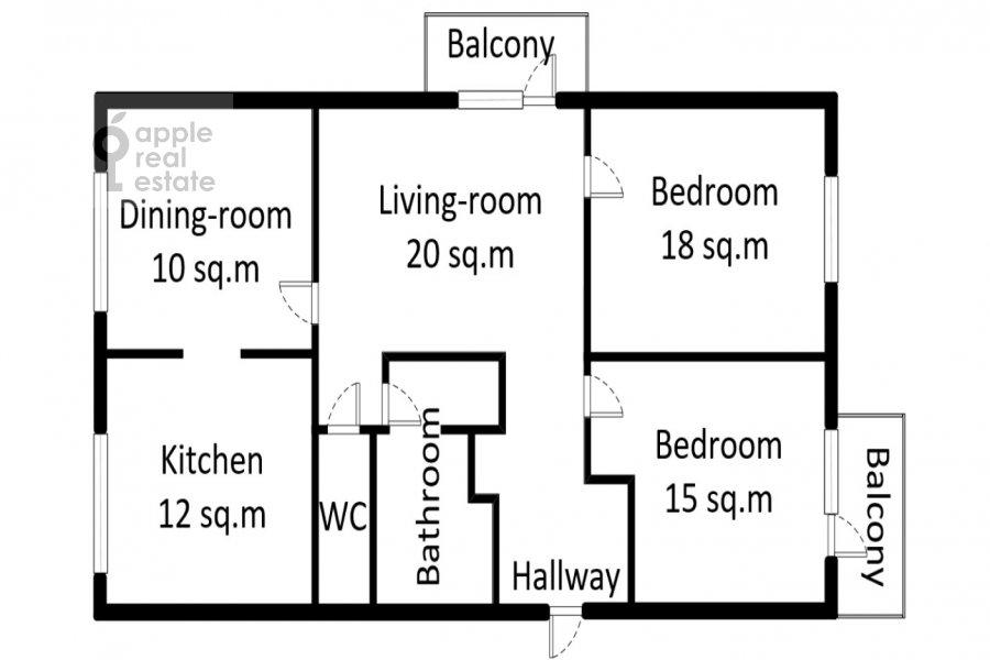 Floor plan of the 3-room apartment at Karetnyy Ryad ul. 5/10