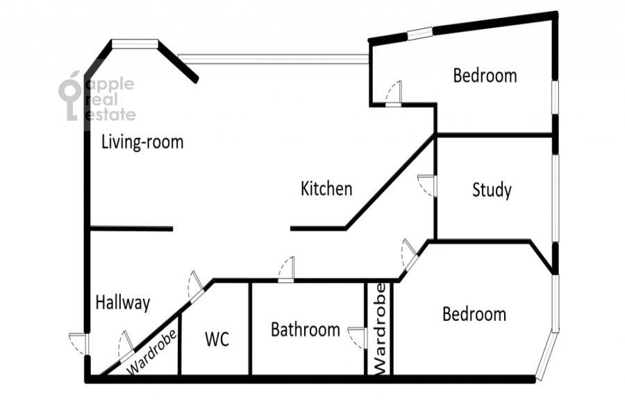 Поэтажный план 3-комнатной квартиры по адресу Зачатьевский 1-й пер. 6