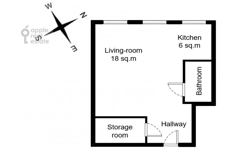 Поэтажный план 1-комнатной квартиры по адресу Девятинский Большой пер. 5