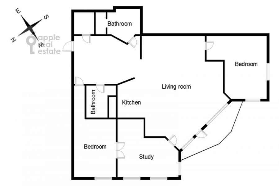 Floor plan of the 4-room apartment at Mozhayskoe shosse 2