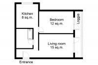 Floor plan of the 2-room apartment at Komsomol'skiy pr-t. 25k3