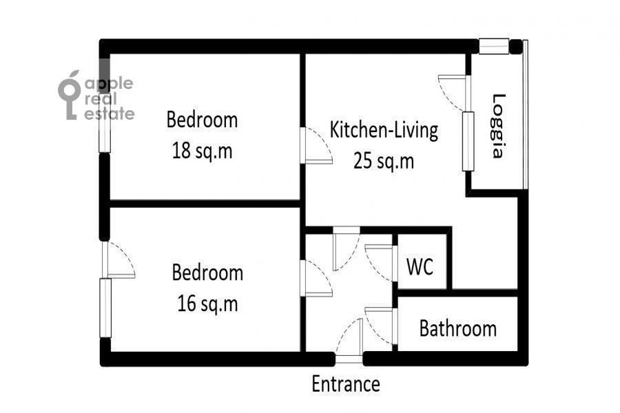 Поэтажный план 3-комнатной квартиры по адресу Тверская-Ямская 3-я ул. 21/23