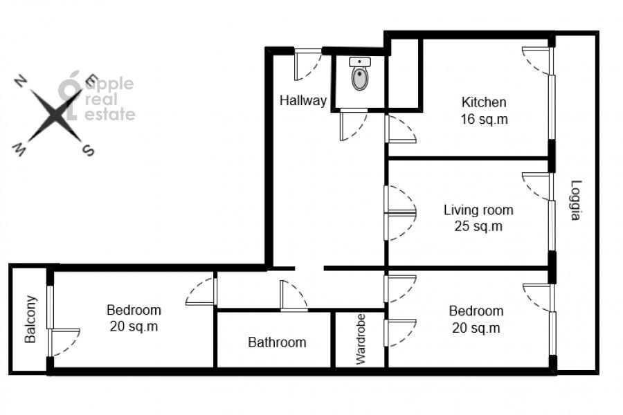 Floor plan of the 3-room apartment at Istrinskaya ul. 8k3