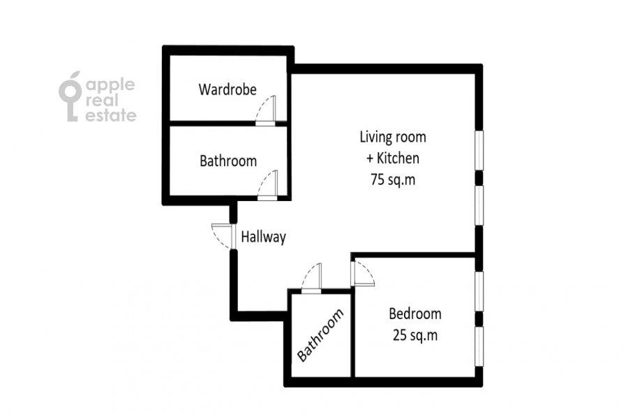Поэтажный план 2-комнатной квартиры по адресу Варшавское шоссе 9с1