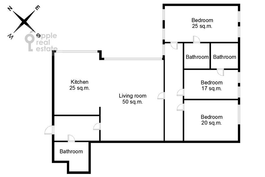 Поэтажный план 4-комнатной квартиры по адресу Арбат ул. 32