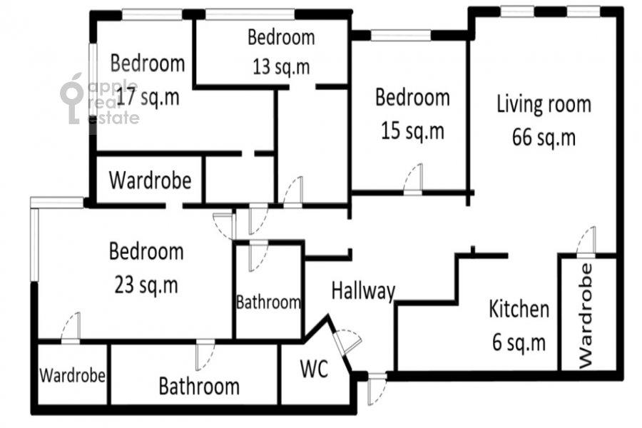 Поэтажный план 5-комнатной квартиры по адресу Смоленский 1-й пер. 17
