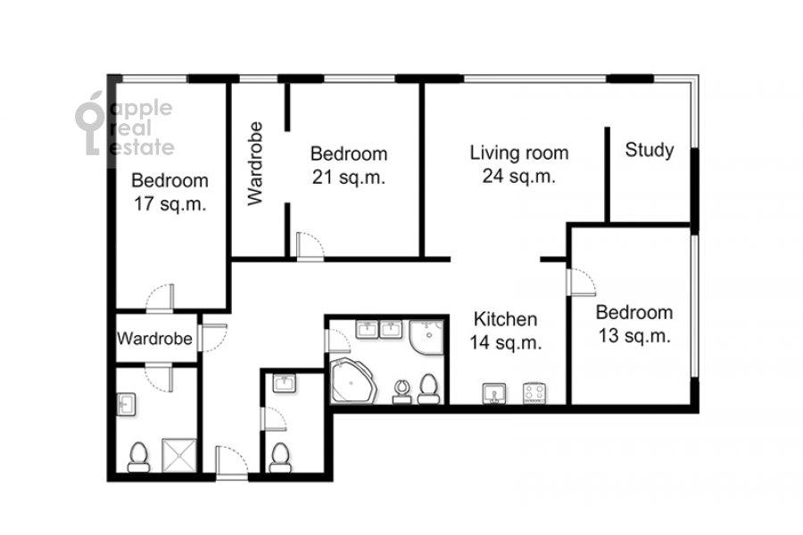 Поэтажный план 4-комнатной квартиры по адресу Большая Грузинская улица 69