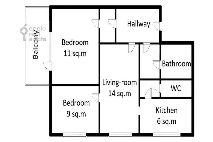 Floor plan of the 3-room apartment at Kuusinena ul. 4Ak4