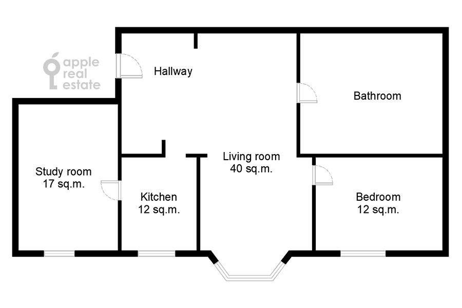 Поэтажный план 3-комнатной квартиры по адресу Дмитровка Малая ул. 15