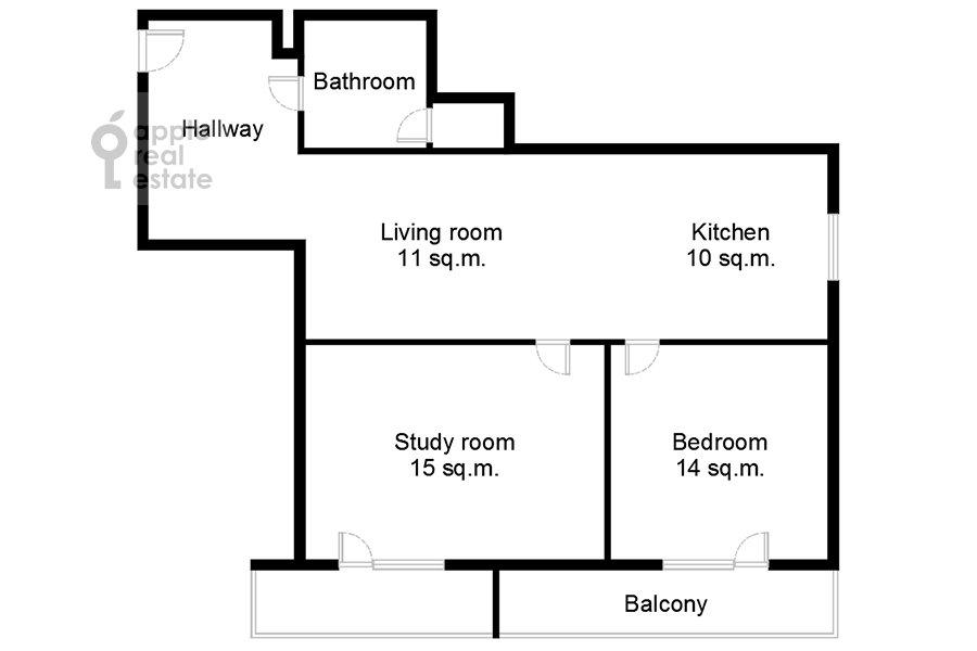 Поэтажный план 3-комнатной квартиры по адресу Садовая-Каретная улица 4/6с1