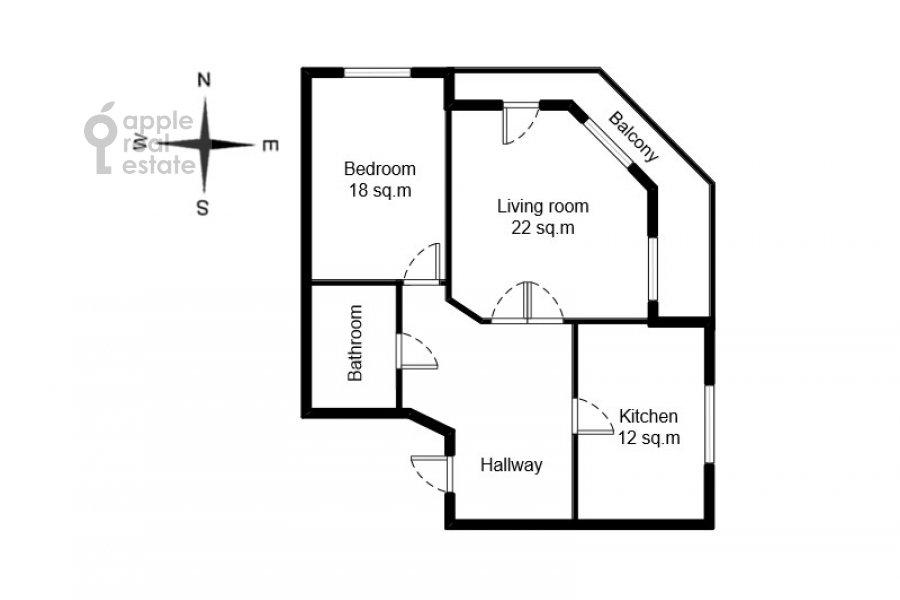 Поэтажный план 2-комнатной квартиры по адресу Наставнический пер. 6