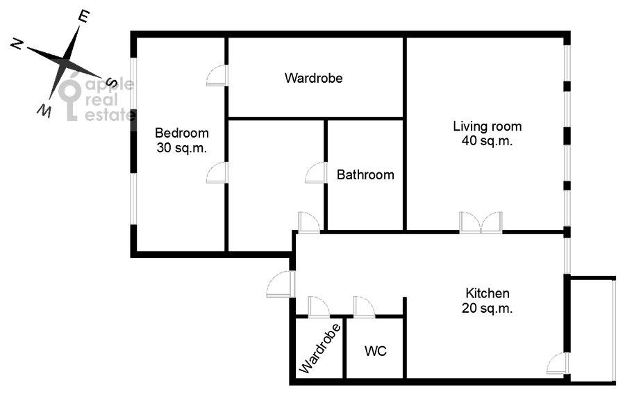 Floor plan of the 2-room apartment at Petrovskiy bul'v. 21