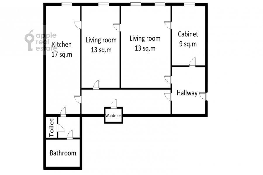 Floor plan of the 3-room apartment at Bronnaya Bol'shaya ul. 27/4