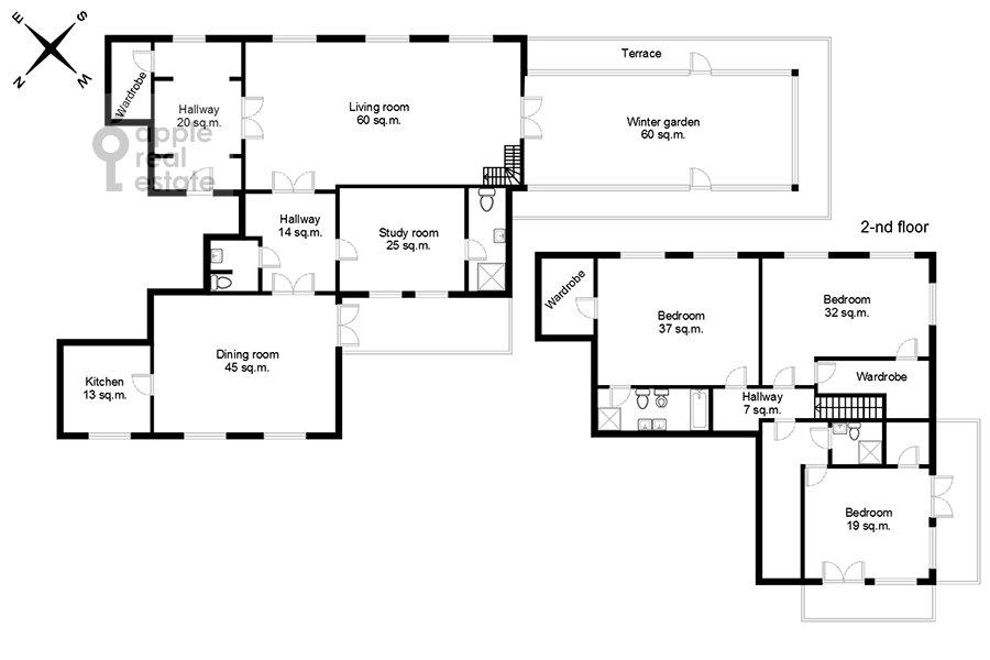 Поэтажный план квартиры-студии по адресу Композиторская ул. 17