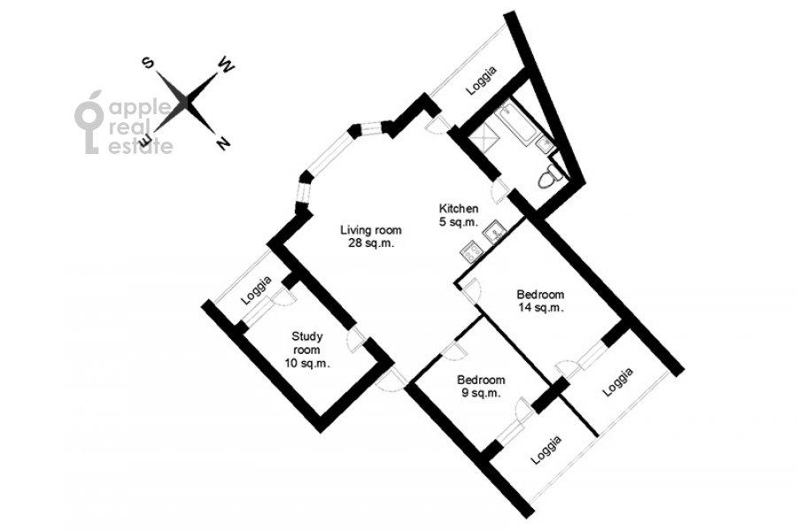 Поэтажный план 4-комнатной квартиры по адресу Бакунинская ул. 26-30c1