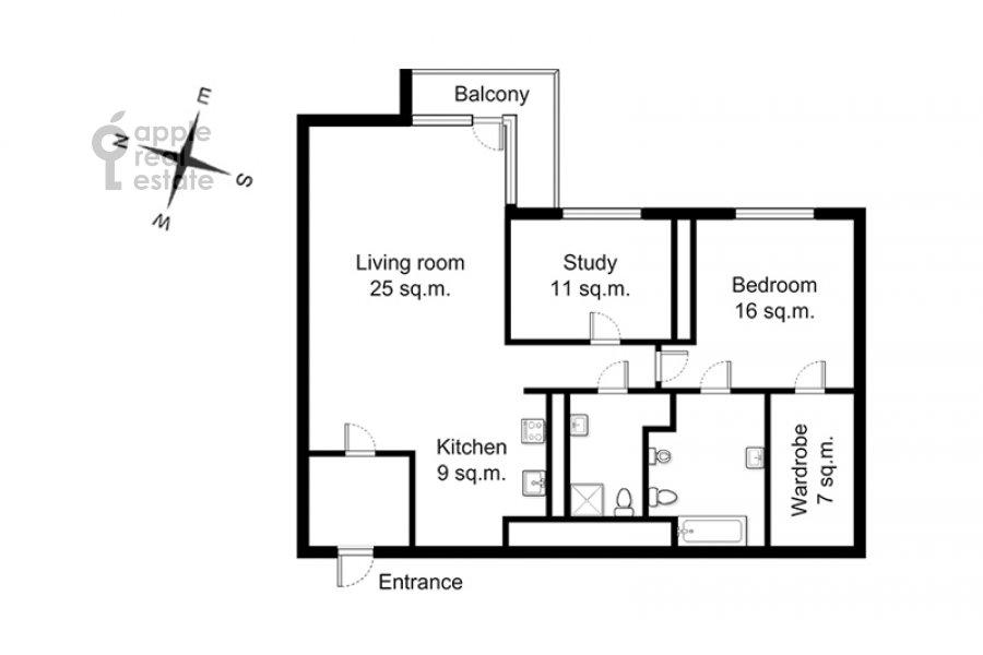 Floor plan of the 3-room apartment at Mosfil'movskaya ulitsa 70k3