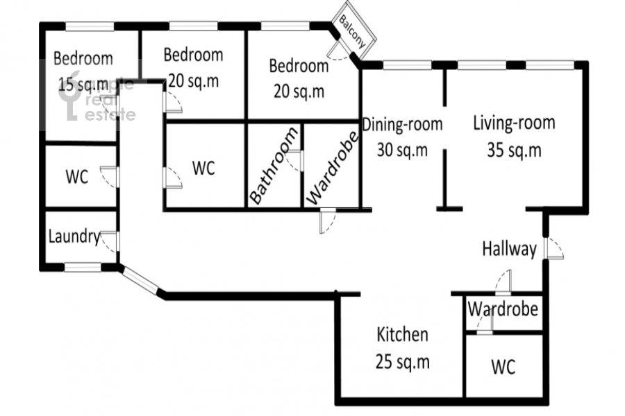 Поэтажный план 5-комнатной квартиры по адресу Молчановка Малая ул. 8с1