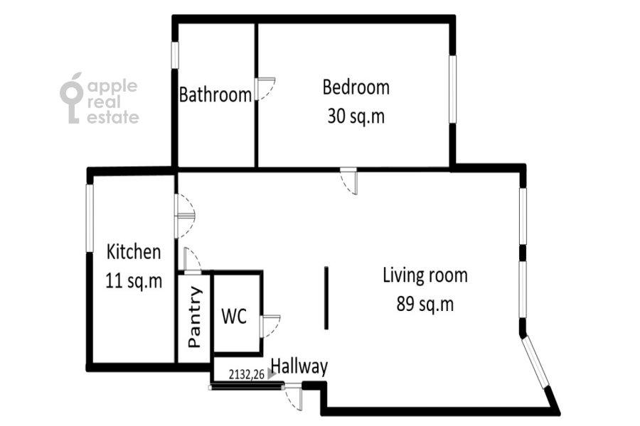 Floor plan of the 2-room apartment at Tverskaya-Yamskaya 4-ya ul. 22