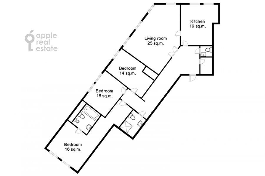 Поэтажный план 4-комнатной квартиры по адресу Цветной бульв. 16