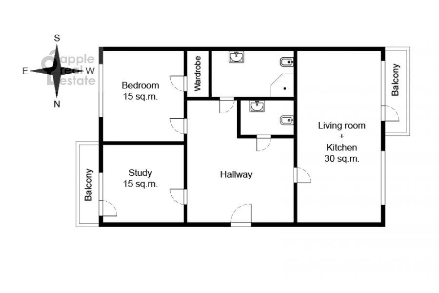 Floor plan of the 3-room apartment at Leninskiy pr-t. 26