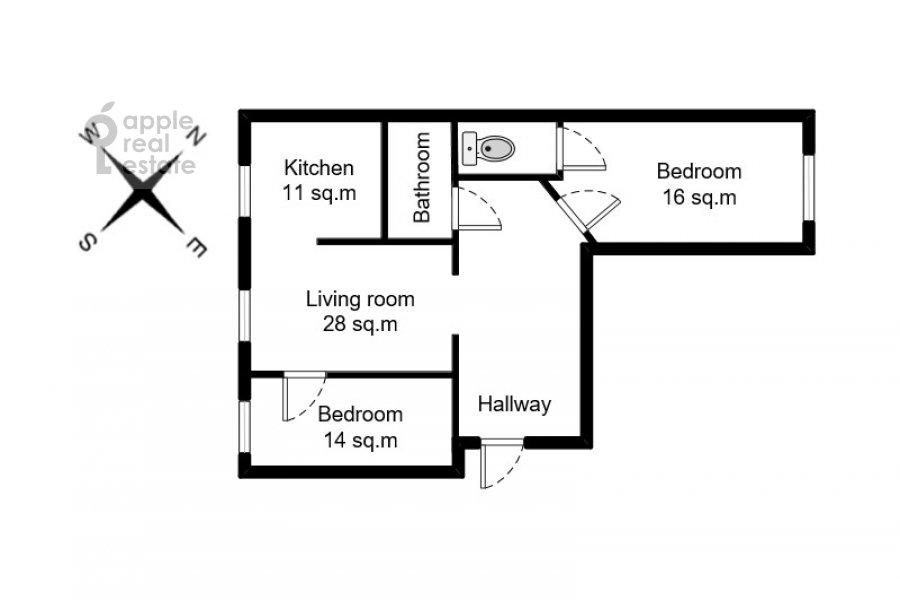 Floor plan of the 3-room apartment at Kutuzovskiy prospekt 4/2