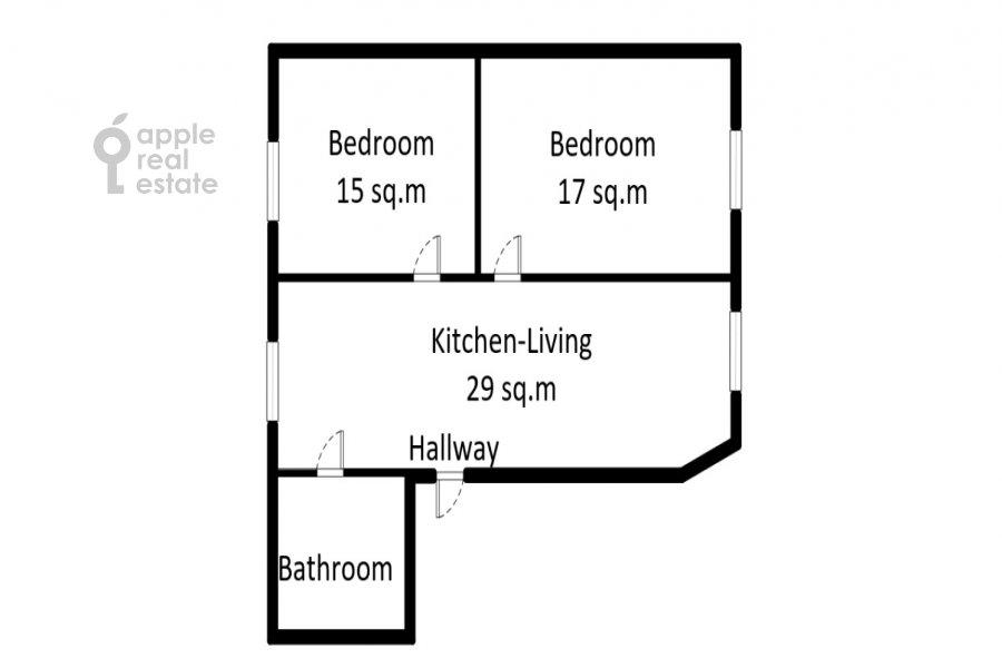 Поэтажный план 3-комнатной квартиры по адресу Сивцев Вражек пер. 21