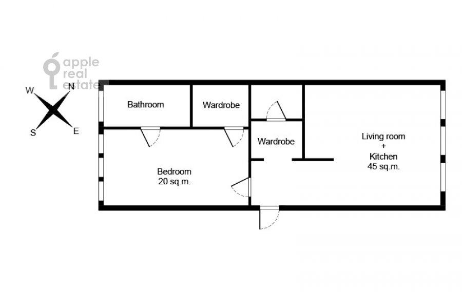 Поэтажный план 2-комнатной квартиры по адресу Никольская улица 10/2с2Б