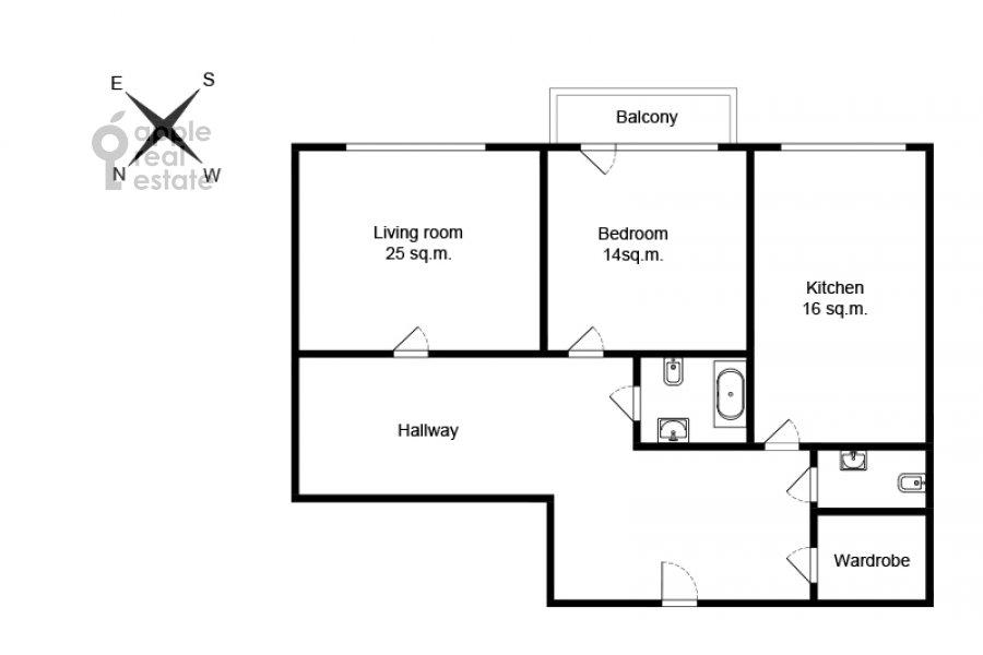 Поэтажный план 2-комнатной квартиры по адресу Астраханский пер. 10/36с1