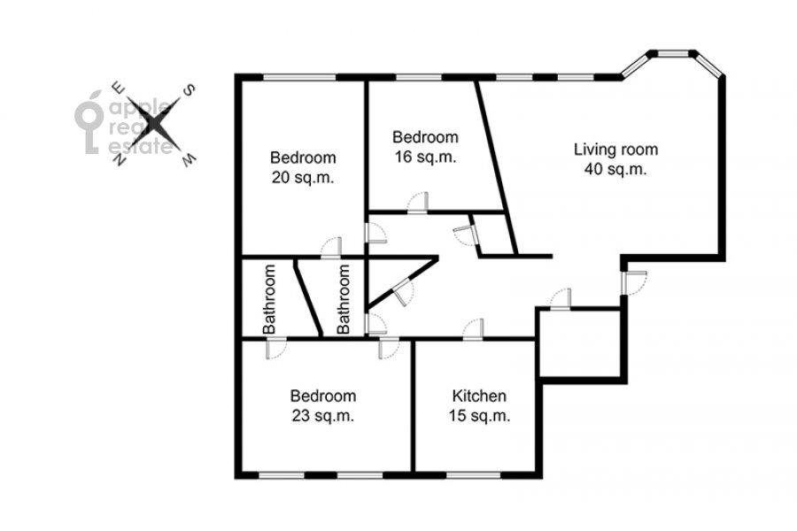 Floor plan of the 4-room apartment at pereulok Sivtsev Vrazhek 44/28