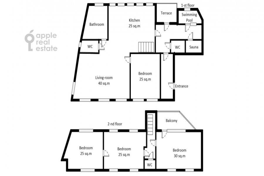 Поэтажный план 3-комнатной квартиры по адресу Спиридоньевский пер. 10А