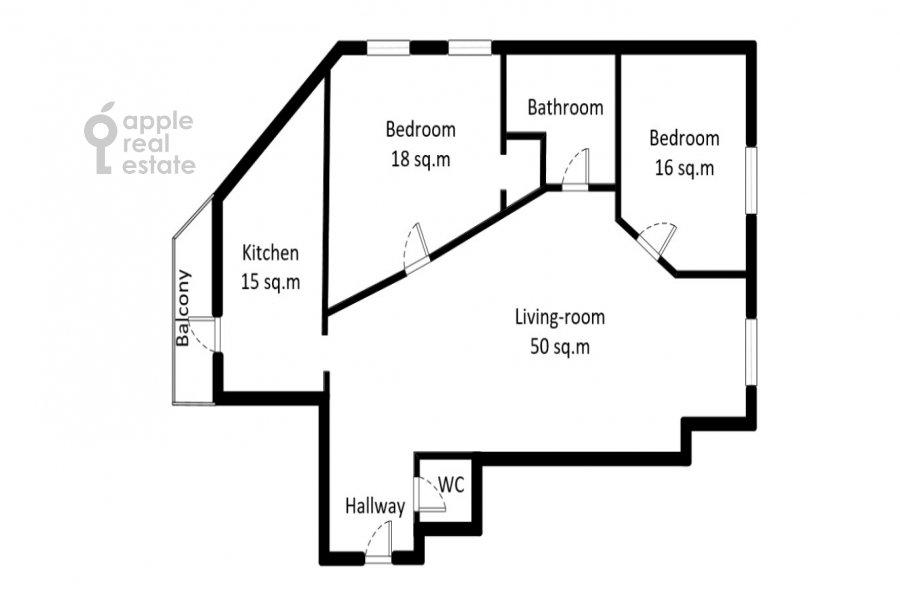 Поэтажный план 3-комнатной квартиры по адресу Филипповский пер. 13