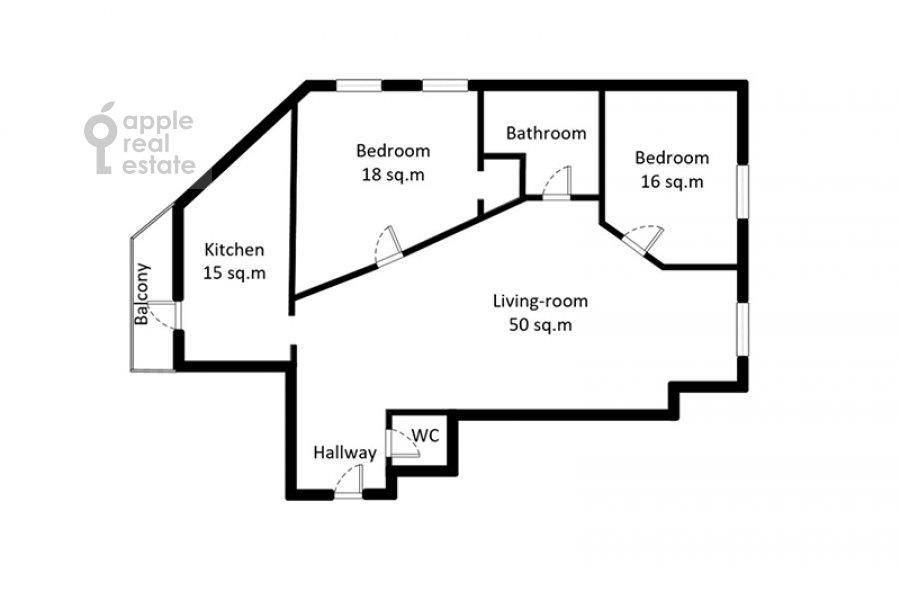 Floor plan of the 3-room apartment at Filippovskiy pereulok 13s2