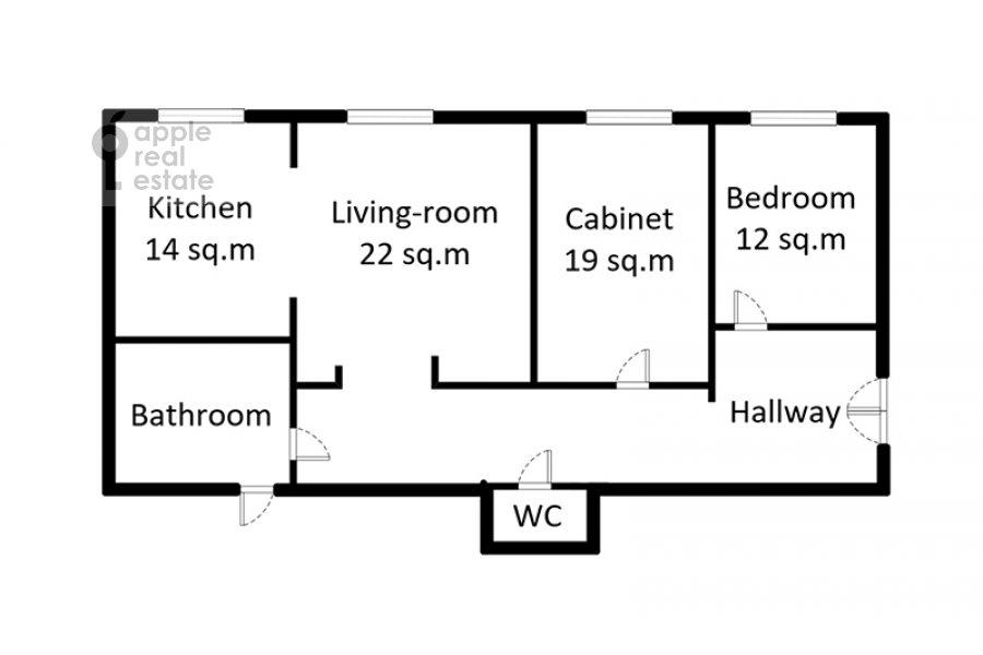 Поэтажный план 3-комнатной квартиры по адресу Смоленский бульвар 15