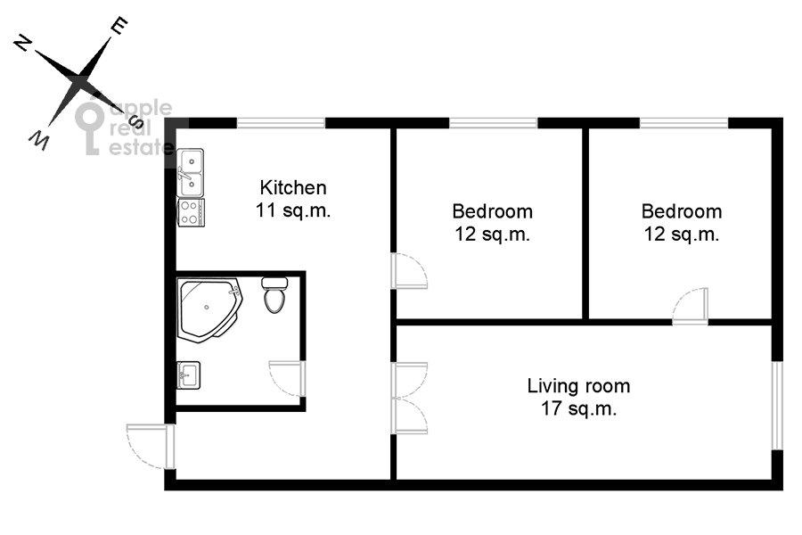 Floor plan of the 3-room apartment at Degtyarnyy per. 5s1