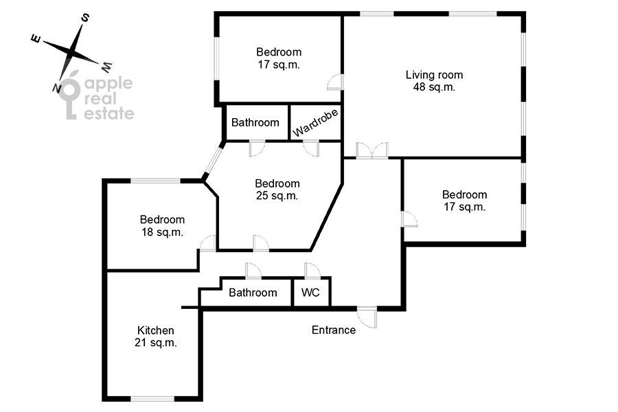 Поэтажный план 5-комнатной квартиры по адресу Садовая-Черногрязская ул. 3Бс1