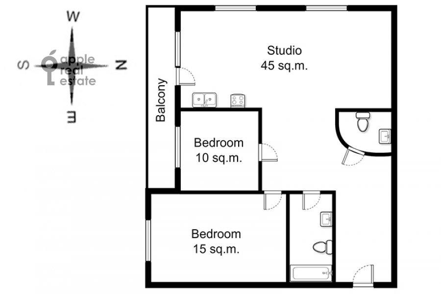 Floor plan of the 3-room apartment at Lyusinovskiy 3-y per. 1S1