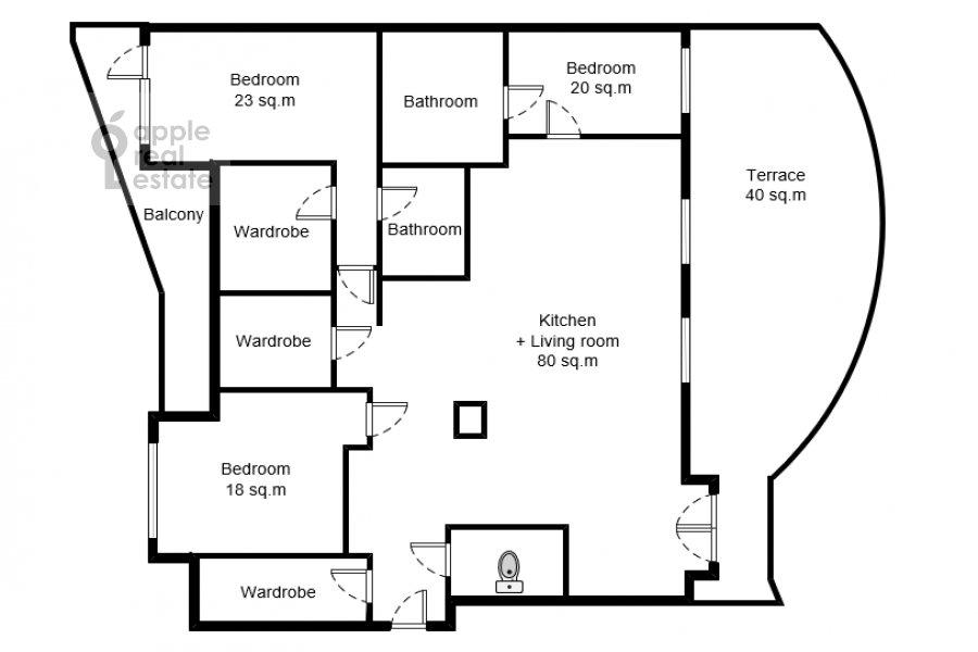 Floor plan of the 4-room apartment at Novyy Arbat ul. 27