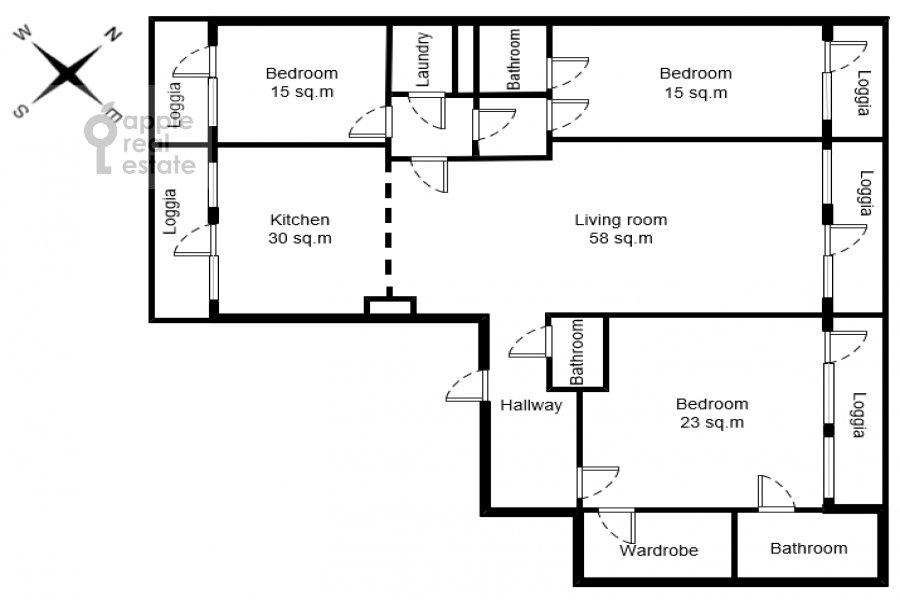 Floor plan of the 4-room apartment at Strastnoy bul'v. 10k1