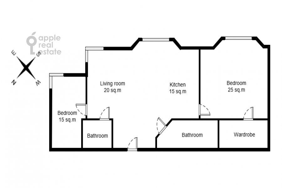 Floor plan of the 3-room apartment at Aviatsionnaya ul. 79k3