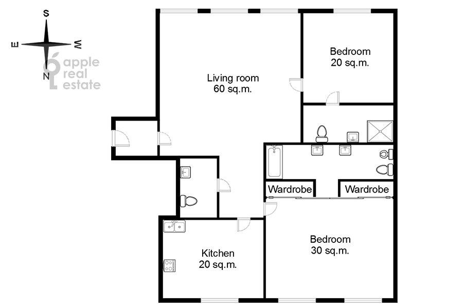 Floor plan of the 3-room apartment at Sretenka ul. 9
