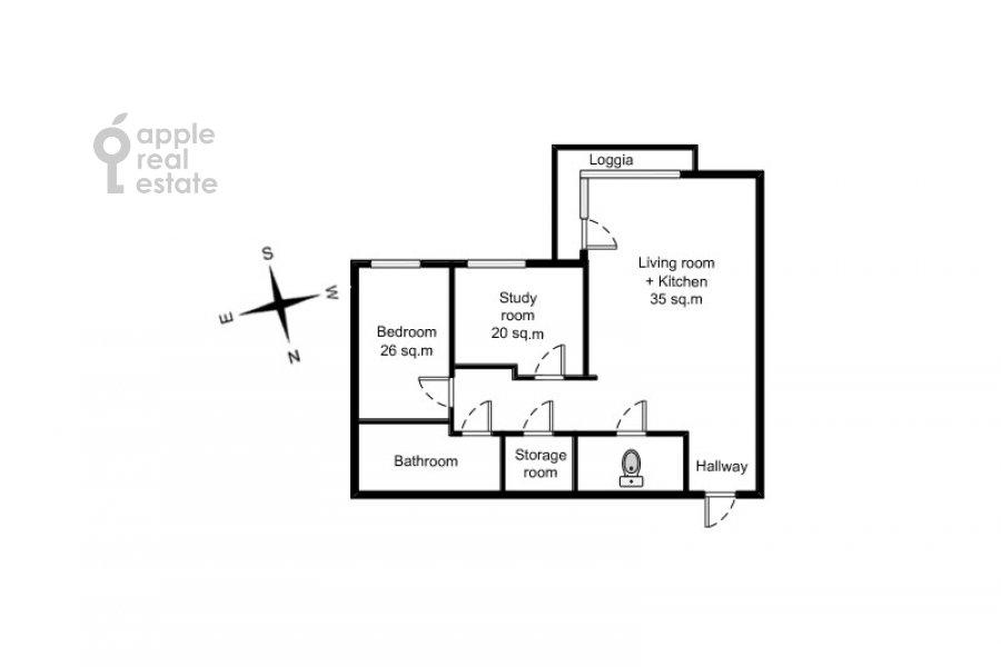 Floor plan of the 3-room apartment at Mosfil'movskaya ul. 70k2