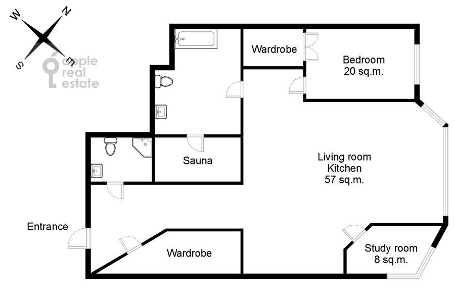 Поэтажный план 3-комнатной квартиры по адресу Пырьева ул. 9к3
