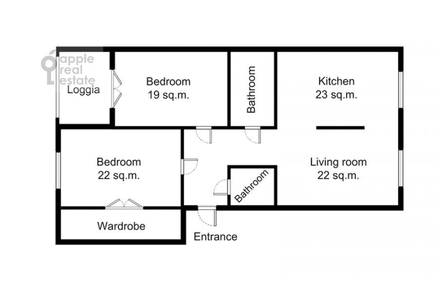 Поэтажный план 3-комнатной квартиры по адресу Фадеева 4А