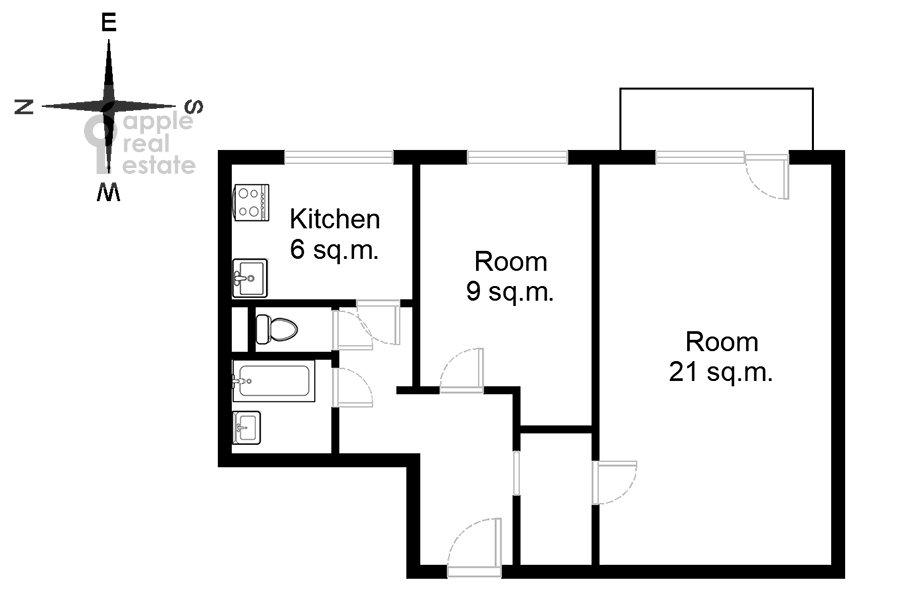 Floor plan of the 2-room apartment at Monetchikovskiy 3-y per. 17