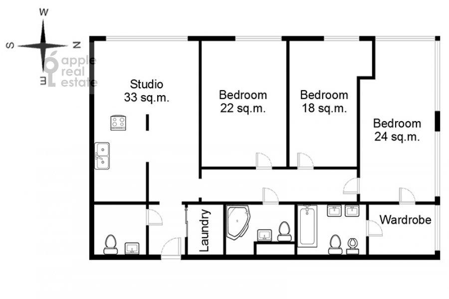 Floor plan of the 4-room apartment at Gruzinskaya Bol'shaya ul. 69