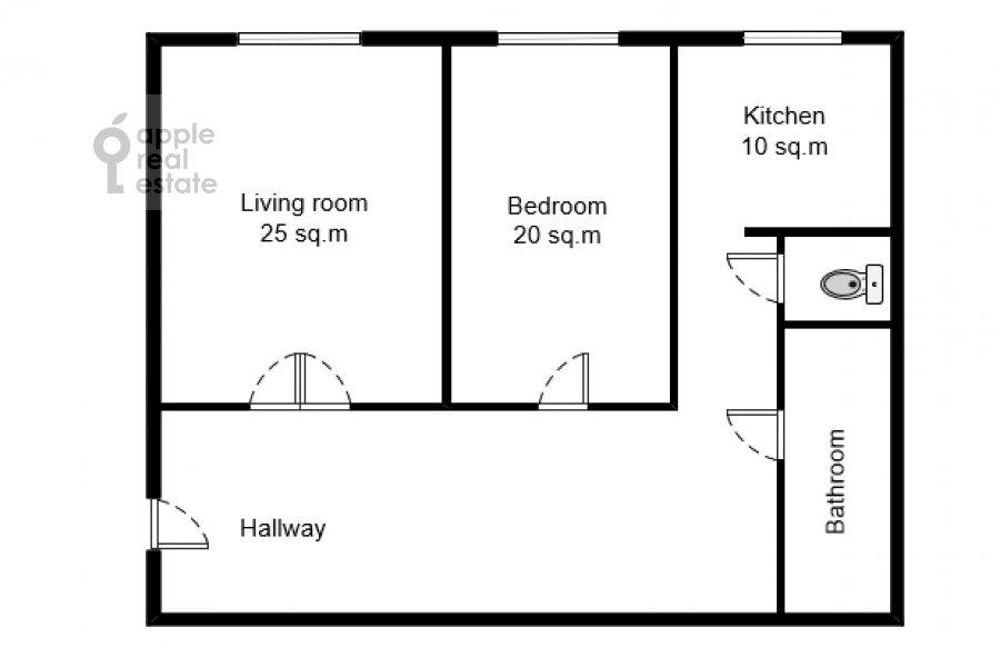 Поэтажный план 2-комнатной квартиры по адресу Котельническая наб. 1/15кб