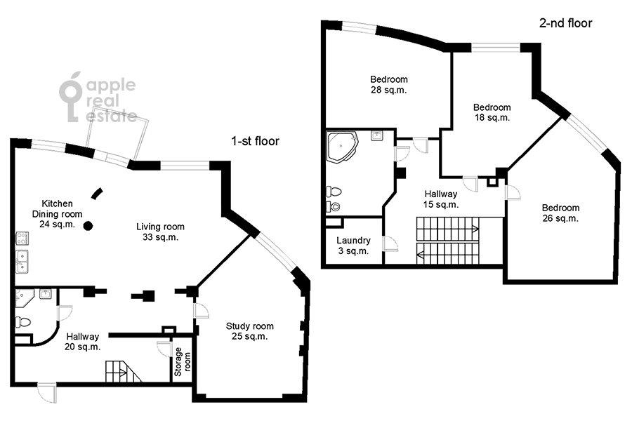 Поэтажный план 5-комнатной квартиры по адресу Ландышевая ул. 14к3